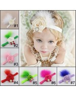 Rhinestone Satin Rolled Rosette with Feather Headband (7 colours)