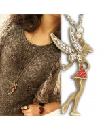 Fashion Vintage Little Fairy Crystal Pendants Necklace Charm Jewelry