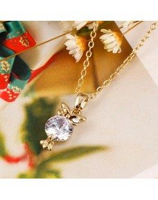 Lovely Owl Rhinestone Alloy Necklace