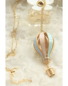 Fashion Gold Colorful Hot Air Balloon Pendant Necklace