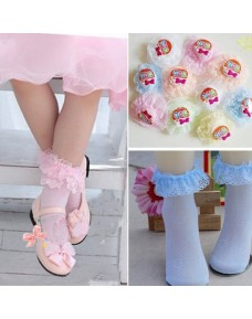 Retro Lace Ruffle Frilly Ankle Breathable Cotton Short Socks (4 Colors)