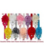 Beautiful Chiffon Satin Flowers Headband with Rhinestone (10 colors)