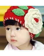 Lovely Red Knit Crochet Flower Hat