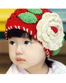 Lovely Red Knit Crochet Flower Hat