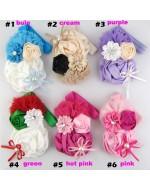 Rosette Satin Rose Flower Headband / Christmas (6 Colours)
