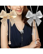 Bowknot Pendant Rhinestone Necklace (Gold/ Silver Color)
