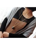 Seashell Pearl Pendant Rhinestone Necklace