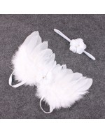 Angel Wings Feather Wings with Flowers Headband Photography Props (WHITE)