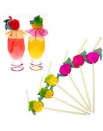 3D Paper Umbrella/ Fruits Cocktail Drinking Straws
