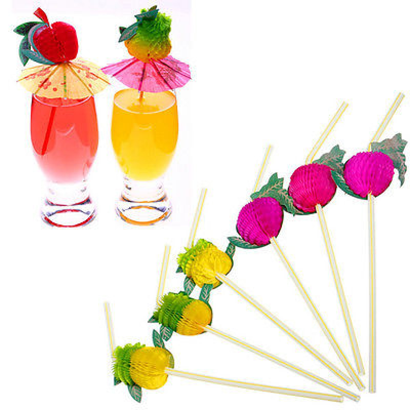 3D Paper Umbrella Fruits Cocktail Drinking Straws