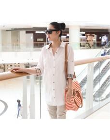 Maternity Blouse Plaid White Shirt