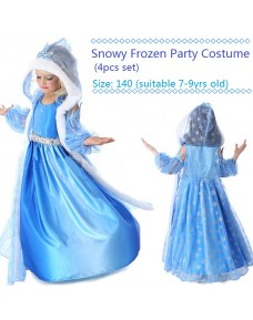 Snowy Frozen Party Costume/ Dress (4pcs Set)