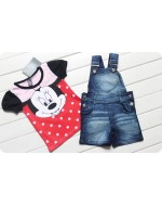 Lovely Minnie Denim 2pcs Set (T-shirt+ Denim strap Suit)