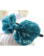 Sweet Blue Polka Dot Ribbon Headband