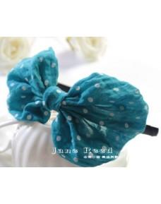 Sweet Blue Polka Dot Ribbon Headband