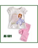 Princess White Pajamas Set (Short Sleeve)