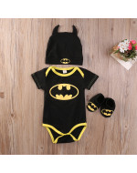 Cute Batman Baby Boys Rompers +Shoes + Hat (3pcs Set) - Short / Long Sleeve