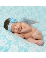 Sky Blue Angle Wings & Flower Headband set for Photography Props