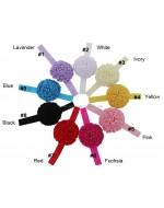 Multi layers Satin Flower Puff Elastic Headband (9 colors)