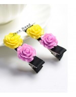 Sweet Purple & Yellow Roses Hairclip (Clip Length: 5cm)