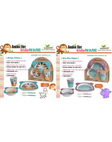 Kids ECO Dinnerware - Natural Bamboo Fibre (5pcs Set)