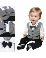 Smart Boy Gentlemen Style with Necktie Romper