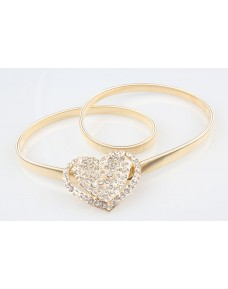 Heart Shape Rhinestones Gold Color Metal Thin Stretchable Belt