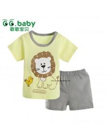 Lion Print Baby Short Sleeve T-shirt & Pants Suit