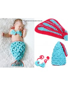 Baby Crochet ~  The Little Mermaid Knitted Costume Photo Props (2pcs Set) ~ Blue