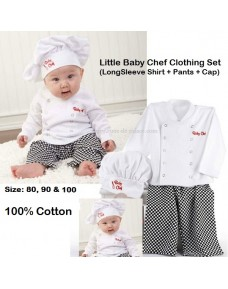 Little Baby Chef Costume/ Clothing Set (LS Shirt + Pants + Cap)