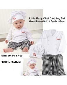 Little Baby Chef Costume/ Clothing Set (LS Shirt + Pants + Cap)