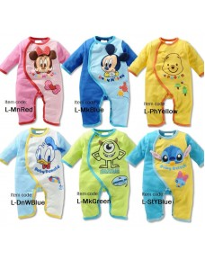 Lovely 2D Cartoons Long-sleeve Baby Rompers