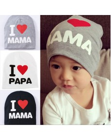 I Love Papa & I Love Mama Printed Cotton Hat