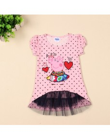 Peppa Pig Embroidery Cotton T-Shirt with Mesh