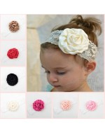Sweet Baby Girls Satin Flower Lace Headbands (10 Colors)