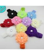 Peony Flower with Crochet Headband (10 Colours)